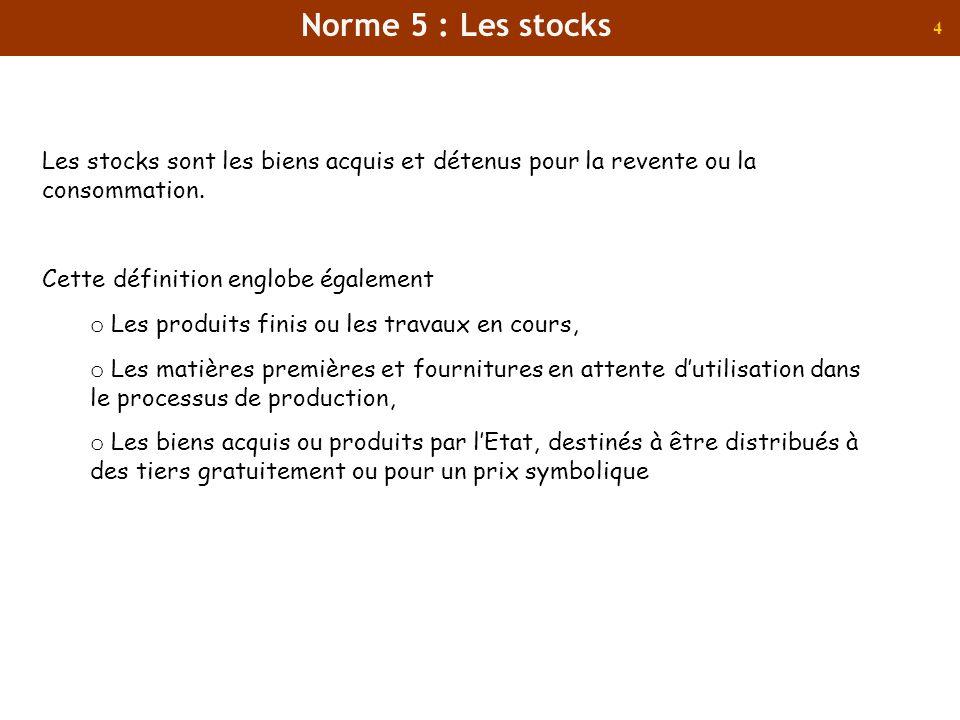 Norme 5 : Les stocks Les stocks sont les biens acquis et détenus pour la revente ou la consommation.