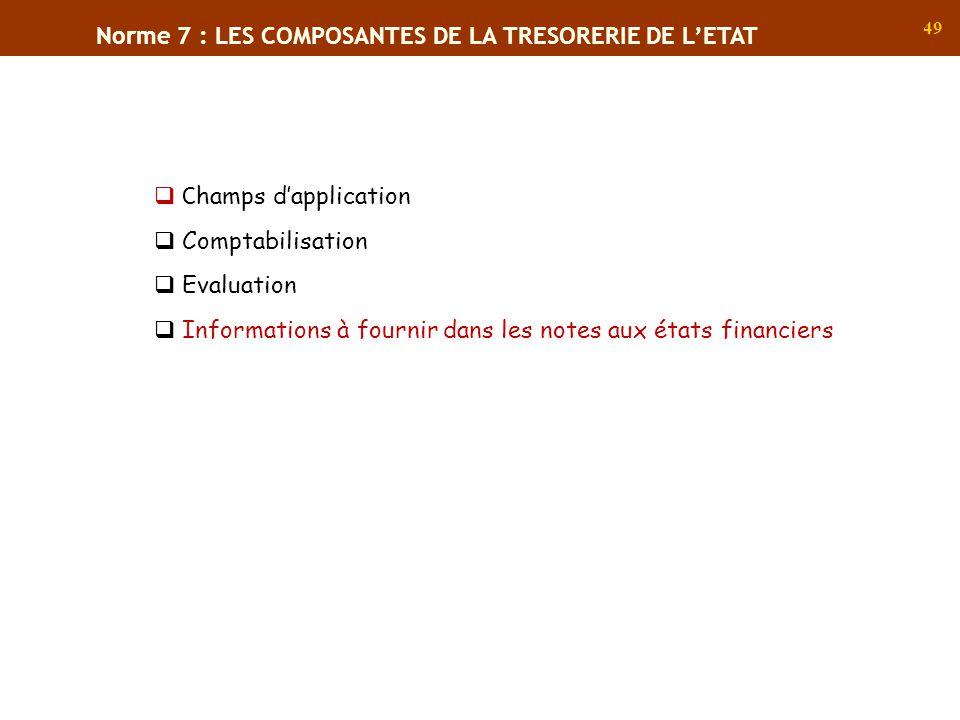 Norme 7 : LES COMPOSANTES DE LA TRESORERIE DE L'ETAT