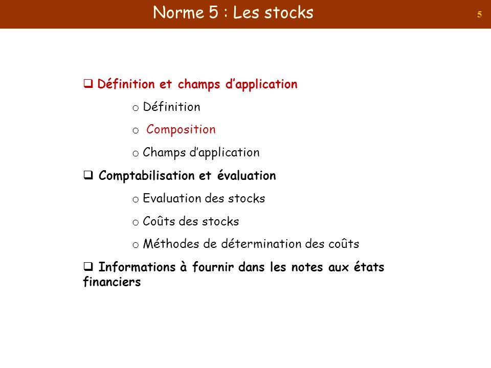 Norme 5 : Les stocks Définition et champs d'application Définition