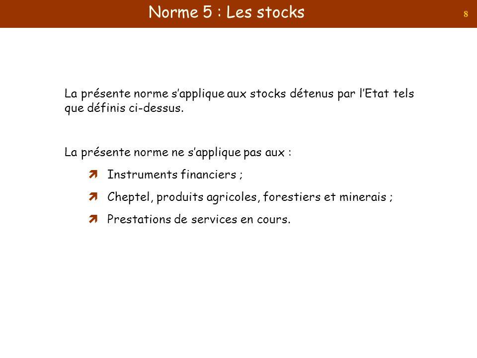 Norme 5 : Les stocks La présente norme s'applique aux stocks détenus par l'Etat tels que définis ci-dessus.
