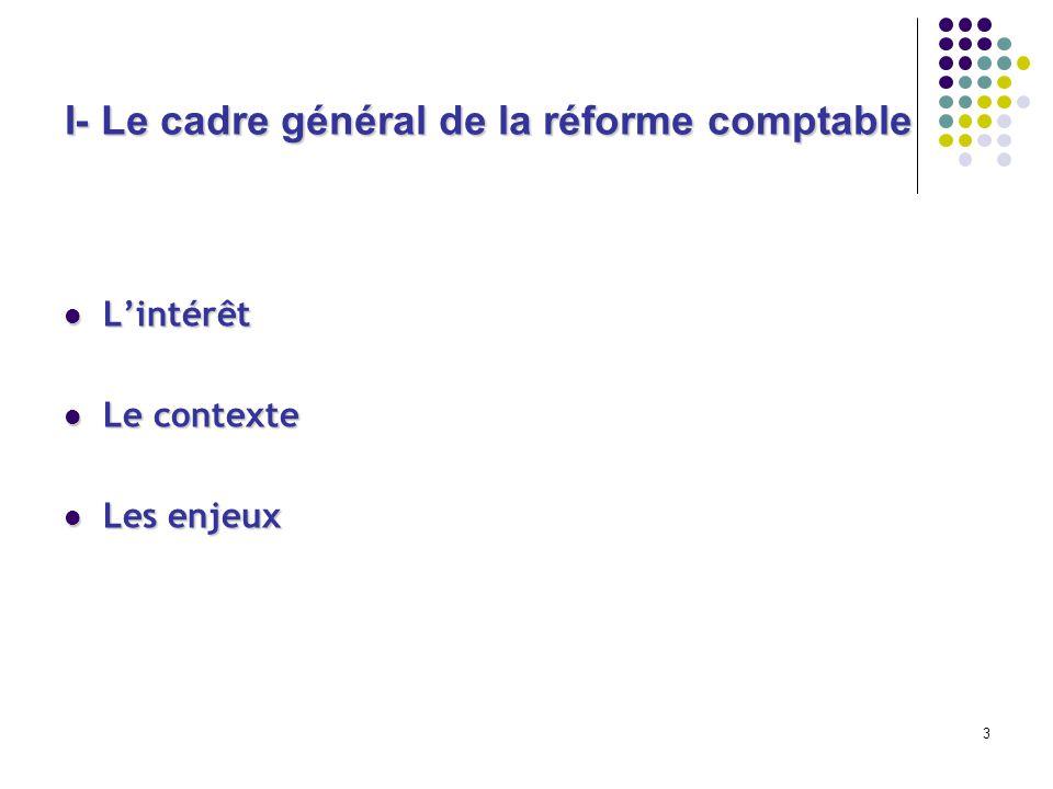 I- Le cadre général de la réforme comptable