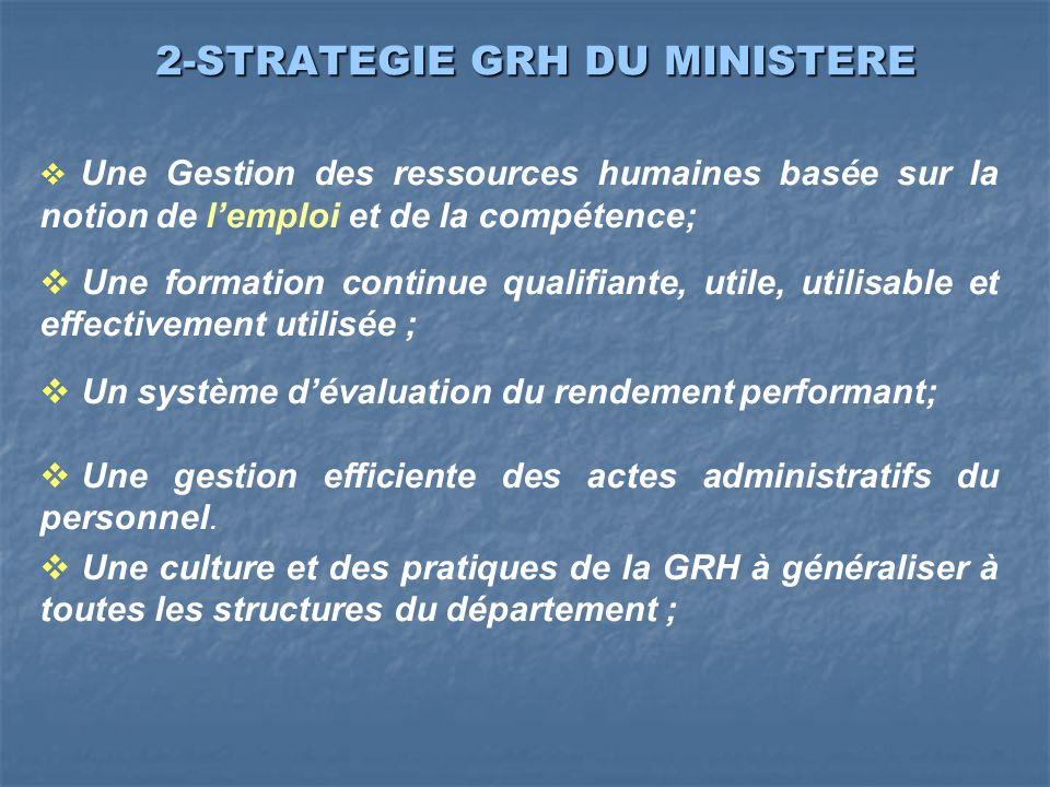 2-STRATEGIE GRH DU MINISTERE