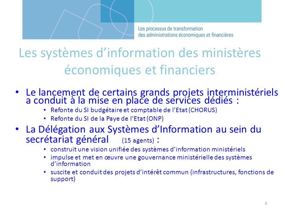 Les systèmes d'information des ministères économiques et financiers