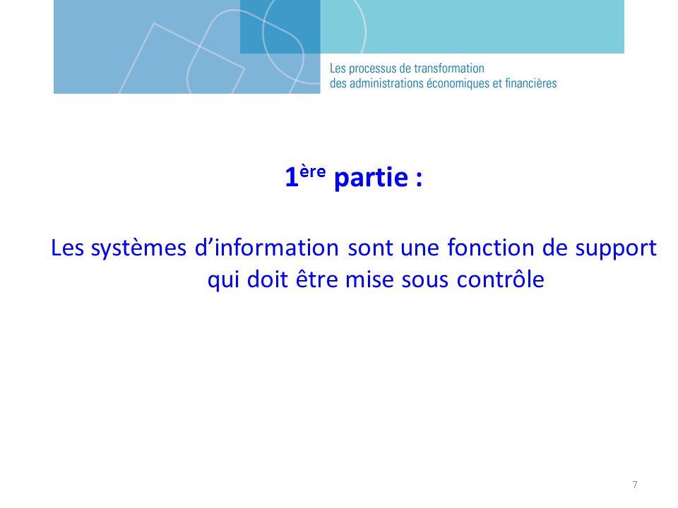 1ère partie : Les systèmes d'information sont une fonction de support qui doit être mise sous contrôle.