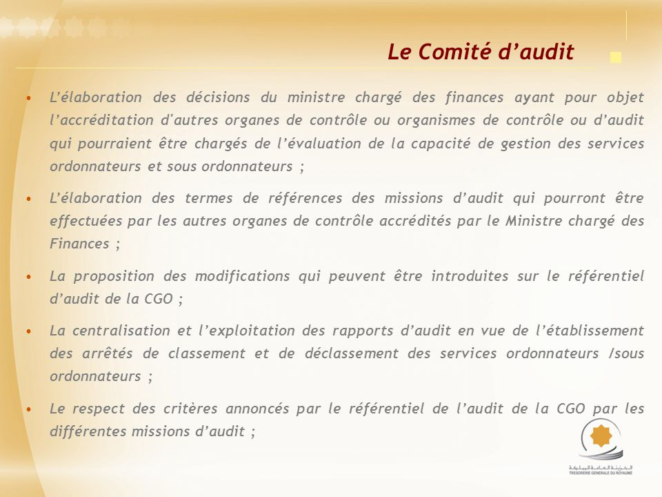 Le Comité d'audit