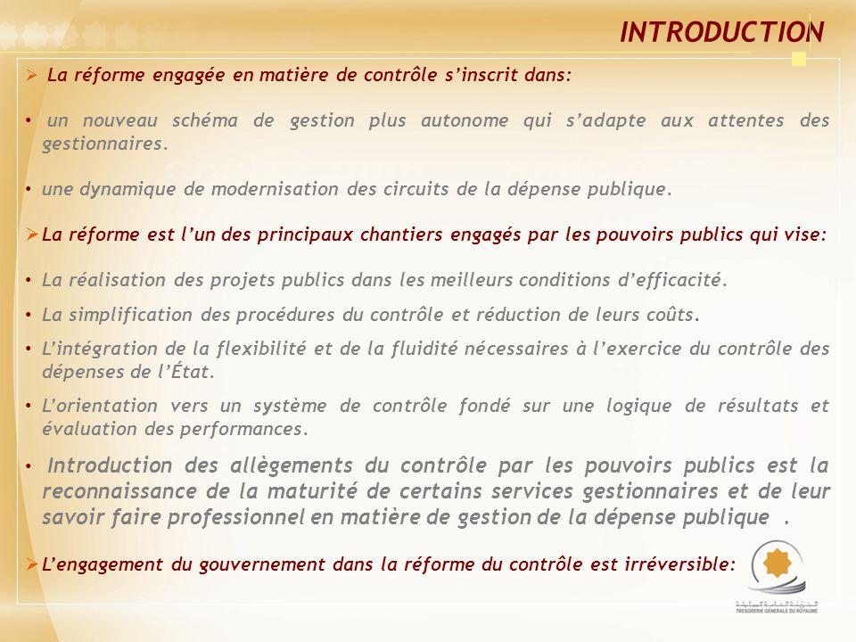 INTRODUCTION La réforme engagée en matière de contrôle s'inscrit dans: