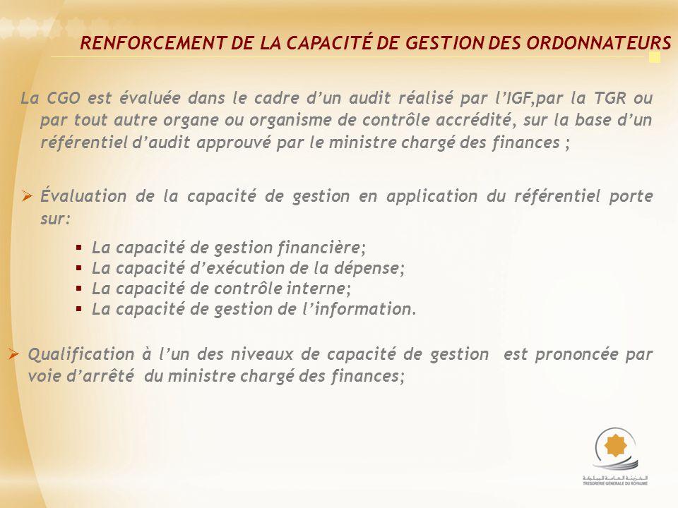 RENFORCEMENT DE LA CAPACITÉ DE GESTION DES ORDONNATEURS
