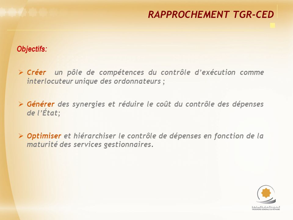 Rapprochement TGR-CED