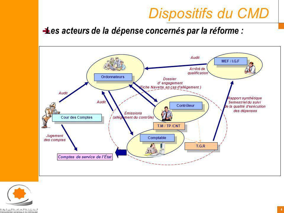 Dispositifs du CMD Les acteurs de la dépense concernés par la réforme : Audit. Ordonnateurs. MEF / I.G.F.