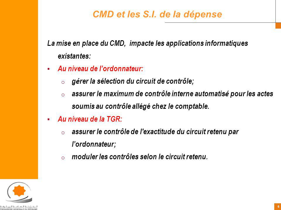 CMD et les S.I. de la dépense