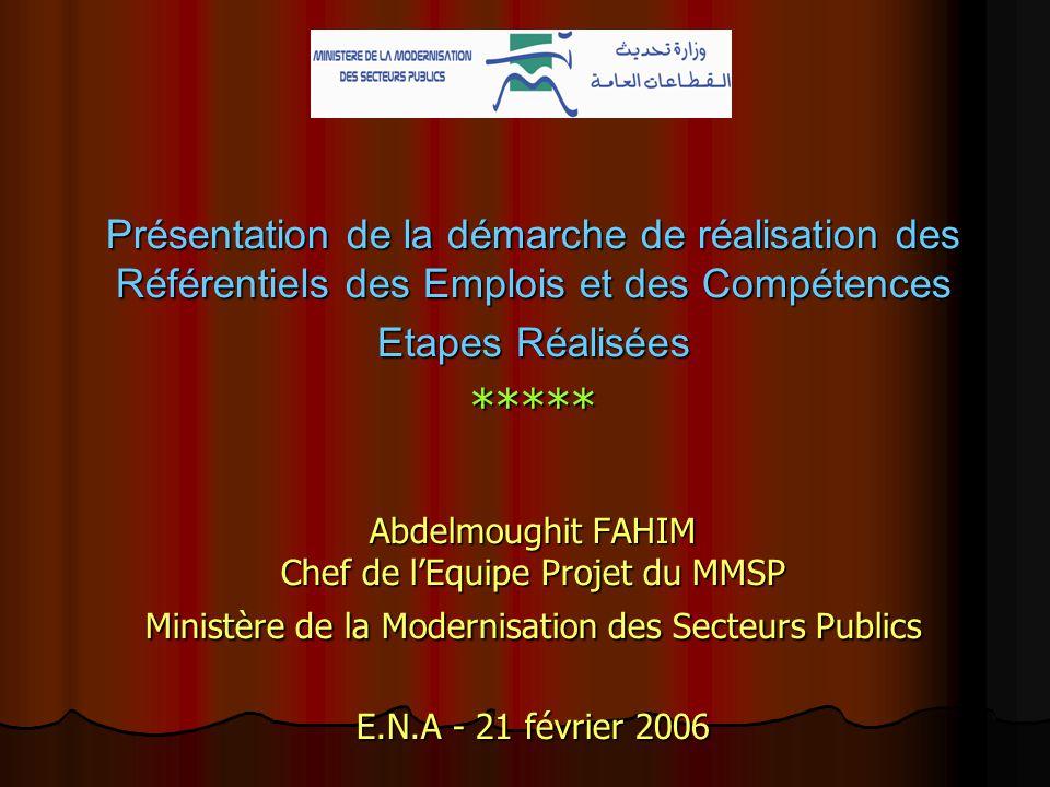 Présentation de la démarche de réalisation des Référentiels des Emplois et des Compétences