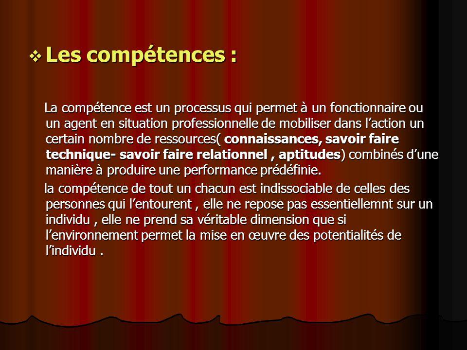Les compétences :