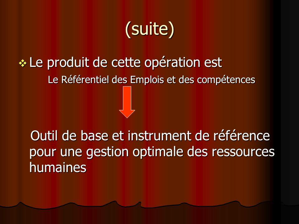 (suite) Le produit de cette opération est Le Référentiel des Emplois et des compétences.