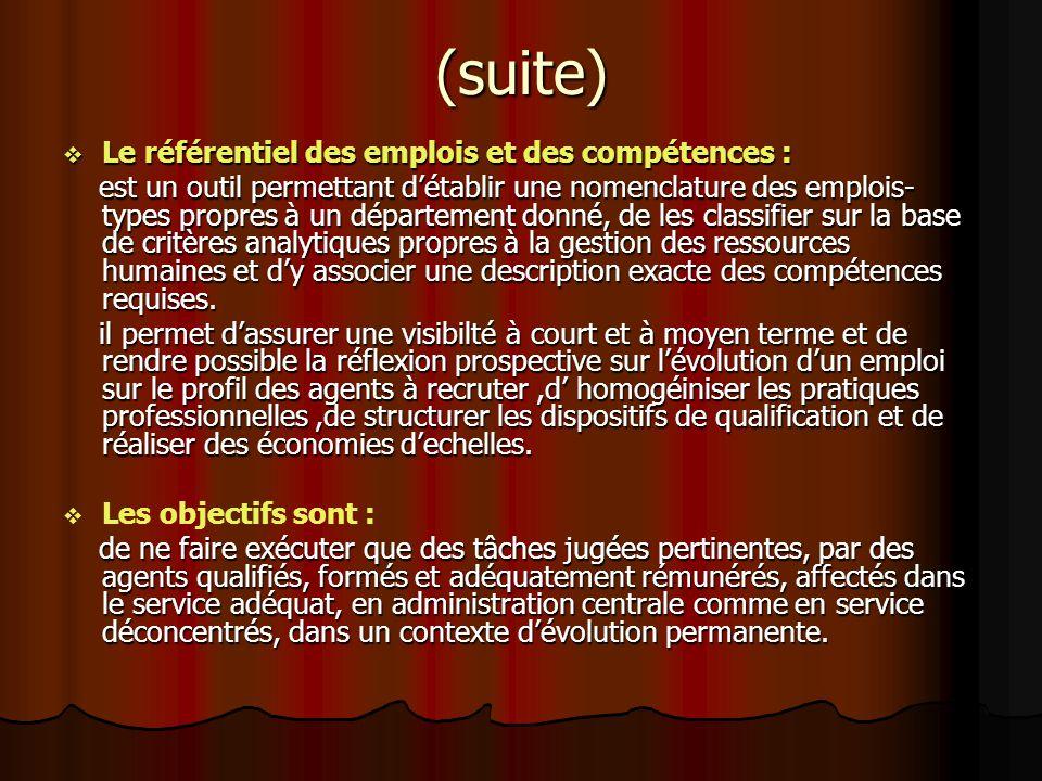 (suite) Le référentiel des emplois et des compétences :