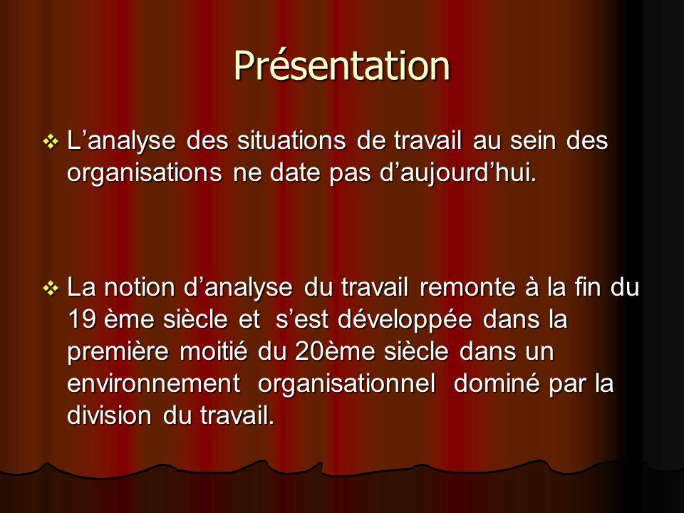 Présentation L'analyse des situations de travail au sein des organisations ne date pas d'aujourd'hui.