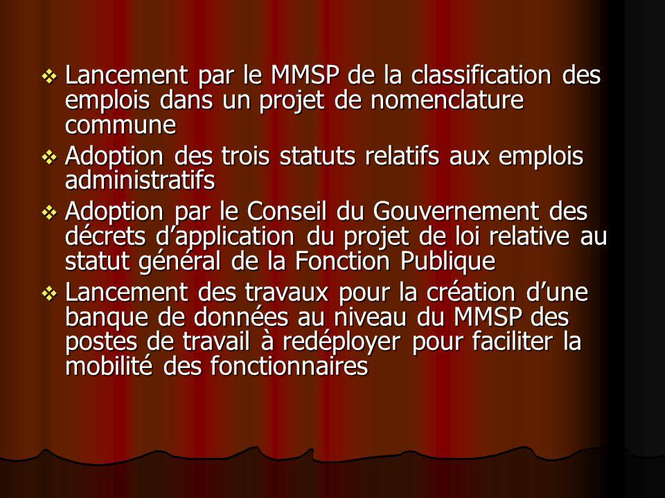 Lancement par le MMSP de la classification des emplois dans un projet de nomenclature commune