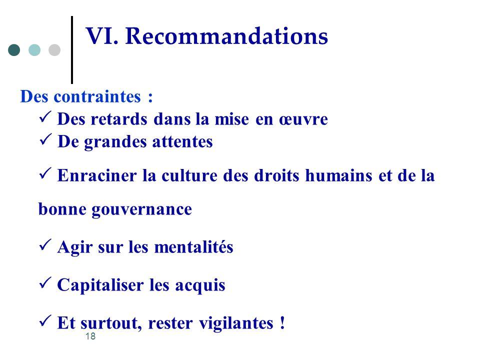 VI. Recommandations
