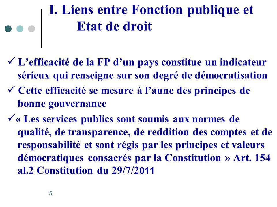 I. Liens entre Fonction publique et Etat de droit