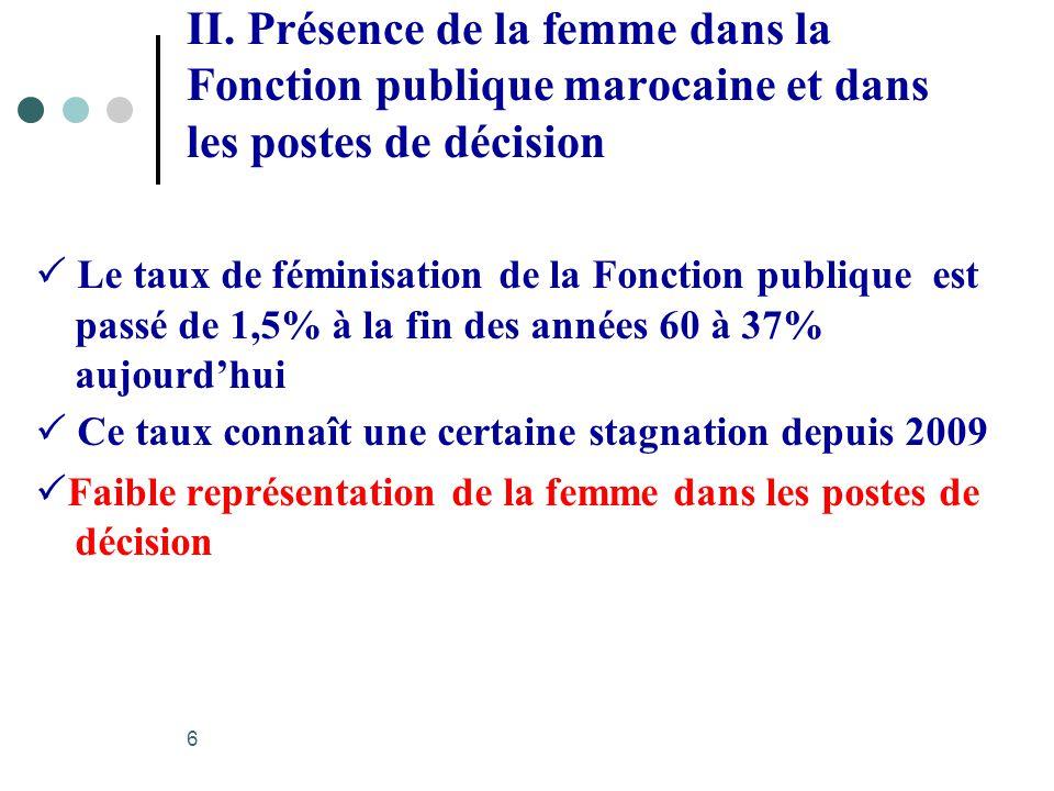II. Présence de la femme dans la Fonction publique marocaine et dans les postes de décision