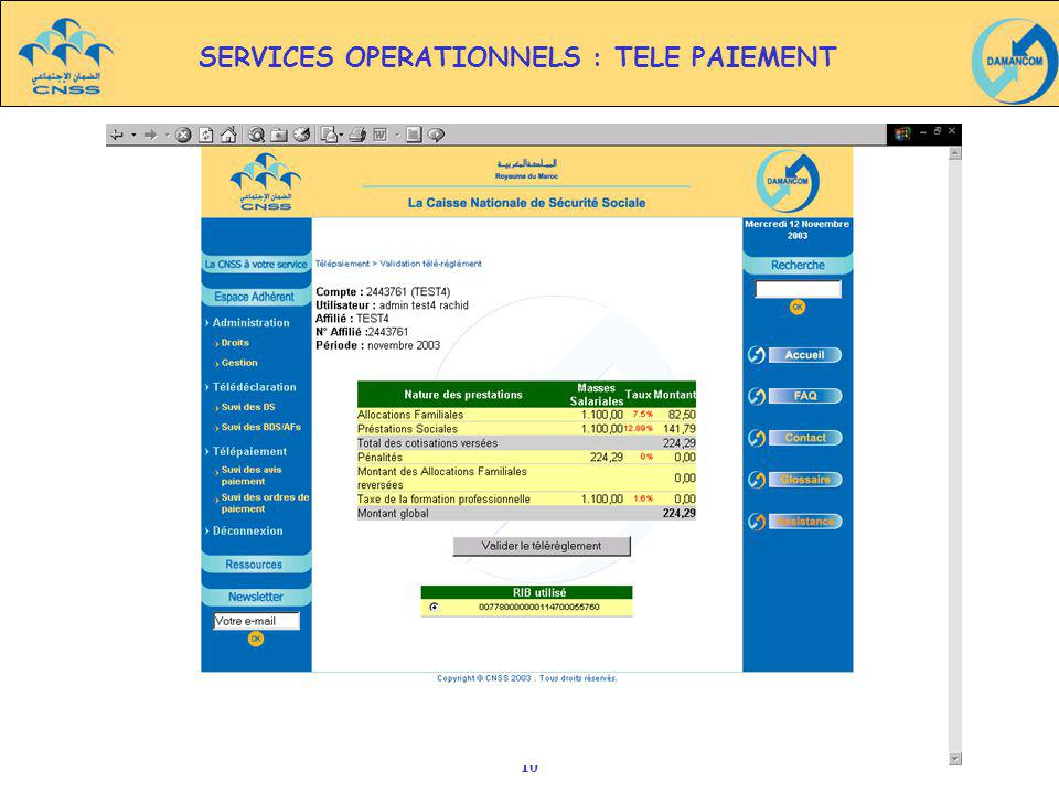 SERVICES OPERATIONNELS : TELE PAIEMENT
