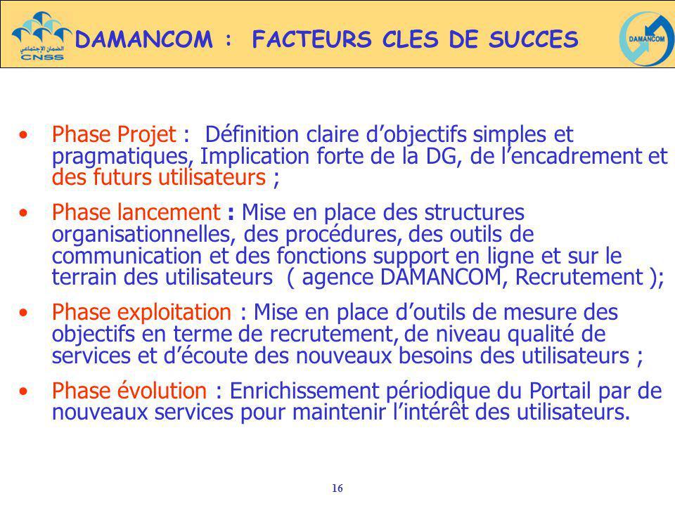 DAMANCOM : FACTEURS CLES DE SUCCES