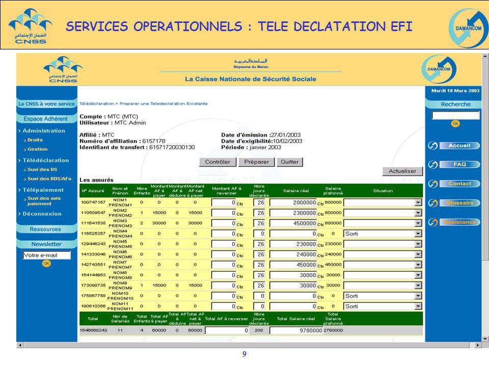 SERVICES OPERATIONNELS : TELE DECLATATION EFI