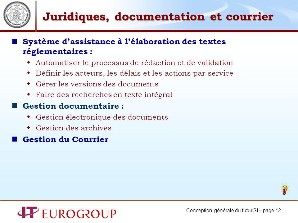 Juridiques, documentation et courrier