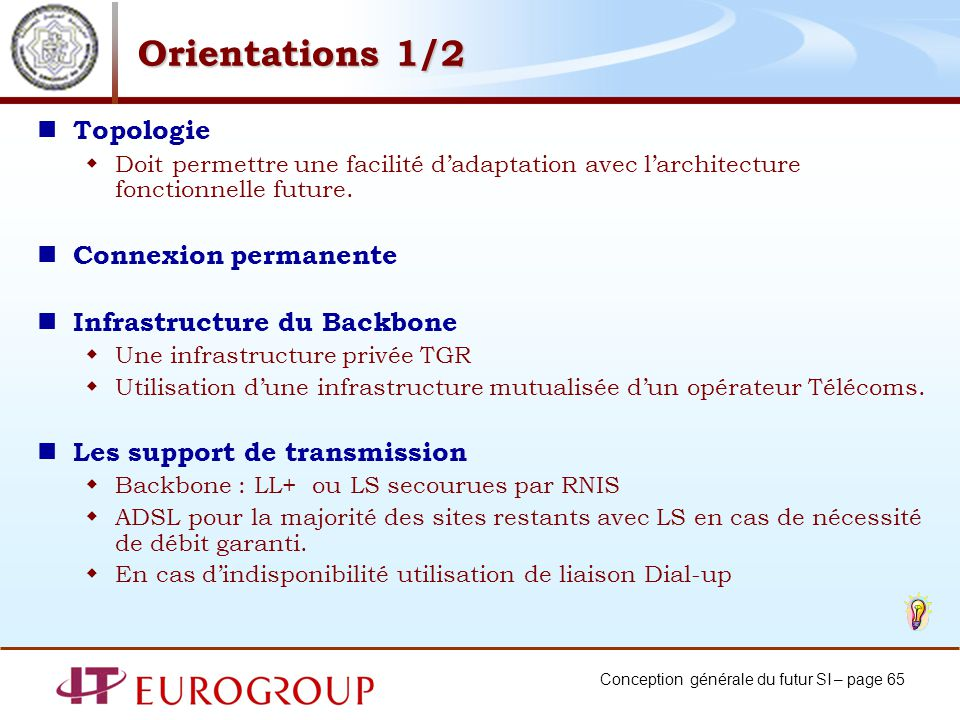 Orientations 1/2 Topologie Connexion permanente