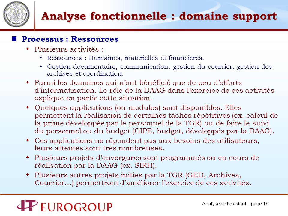 Analyse fonctionnelle : domaine support