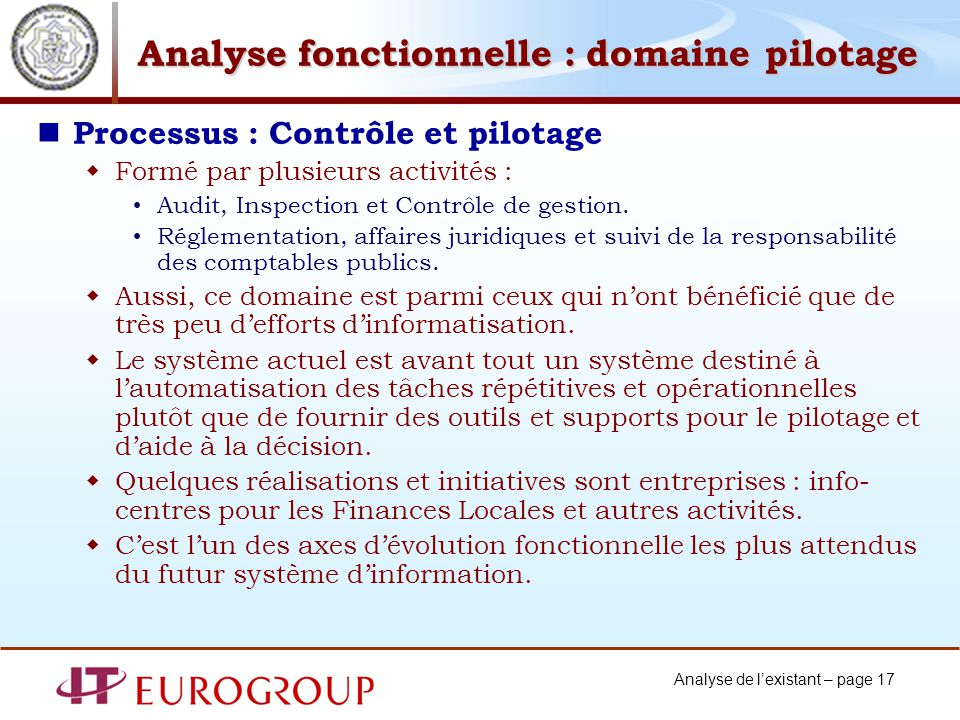 Analyse fonctionnelle : domaine pilotage