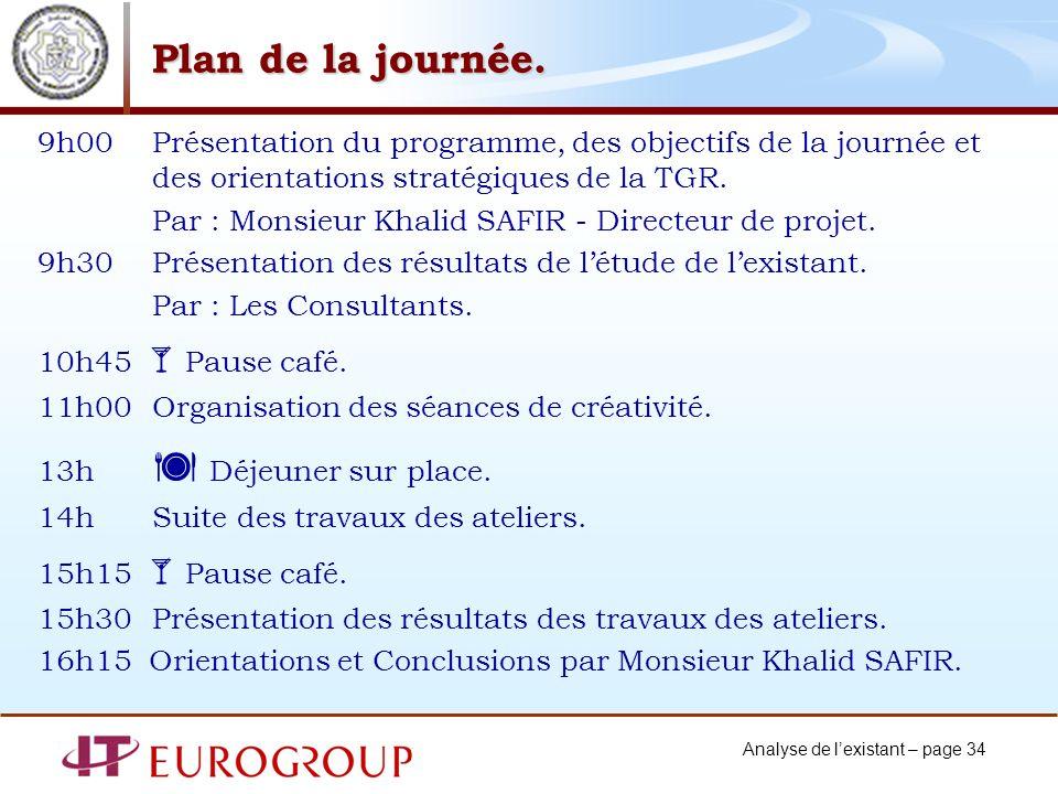 Plan de la journée. 9h00 Présentation du programme, des objectifs de la journée et des orientations stratégiques de la TGR.