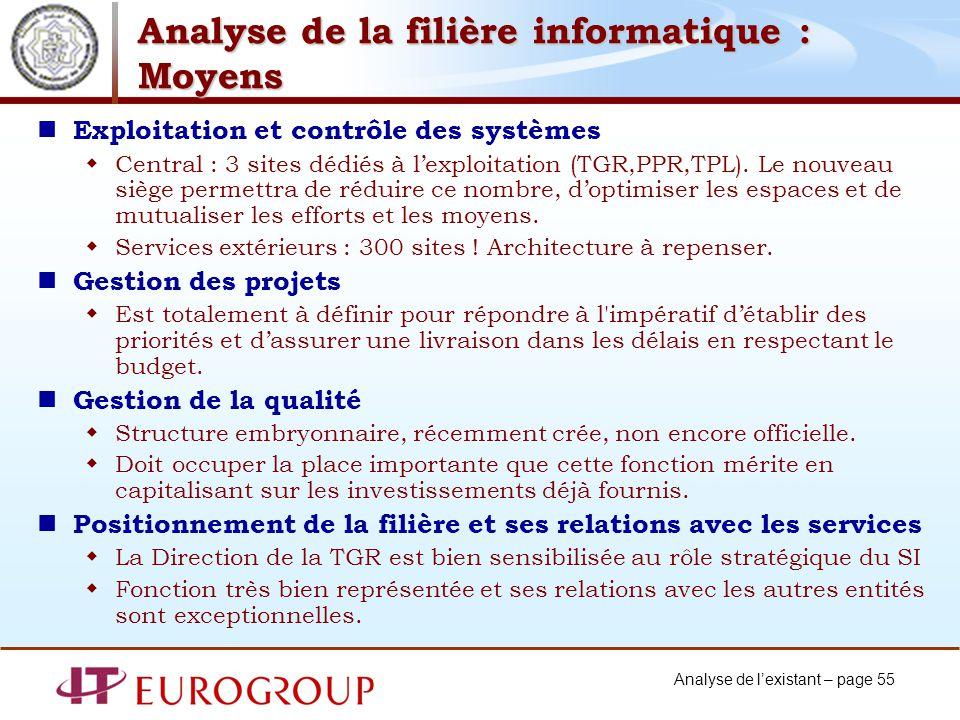 Analyse de la filière informatique : Moyens