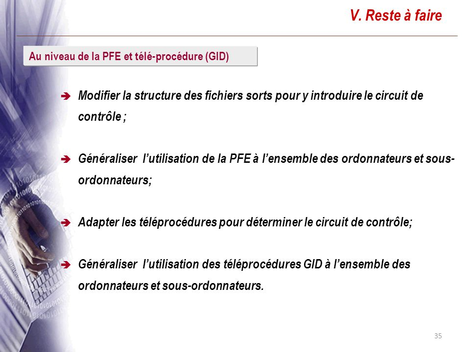 V. Reste à faire Modifier la structure des fichiers sorts pour y introduire le circuit de contrôle ;