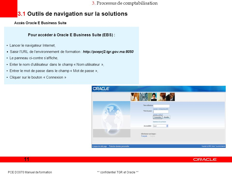 Pour accéder à Oracle E Business Suite (EBS) :
