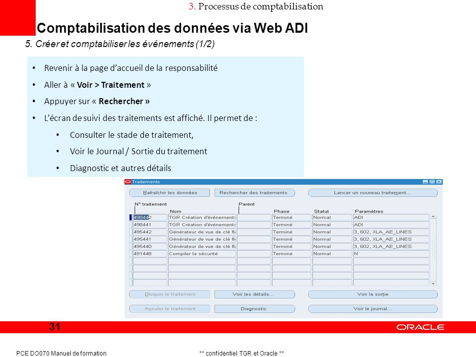 Comptabilisation des données via Web ADI