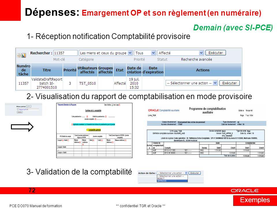 Dépenses: Emargement OP et son règlement (en numéraire)
