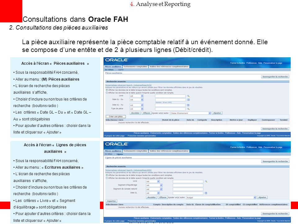Consultations dans Oracle FAH