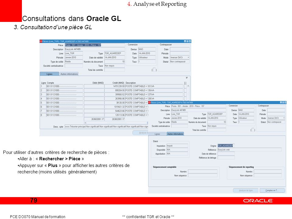 Consultations dans Oracle GL