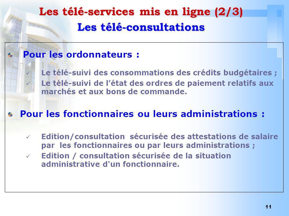 Les télé-services mis en ligne (2/3) Les télé-consultations