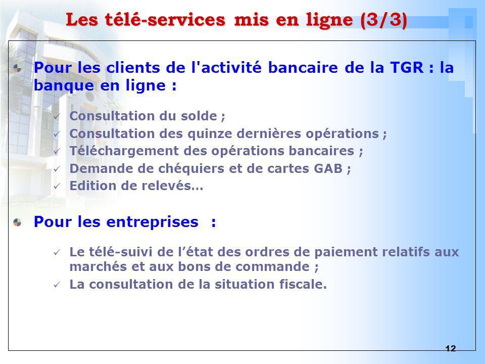 Les télé-services mis en ligne (3/3)
