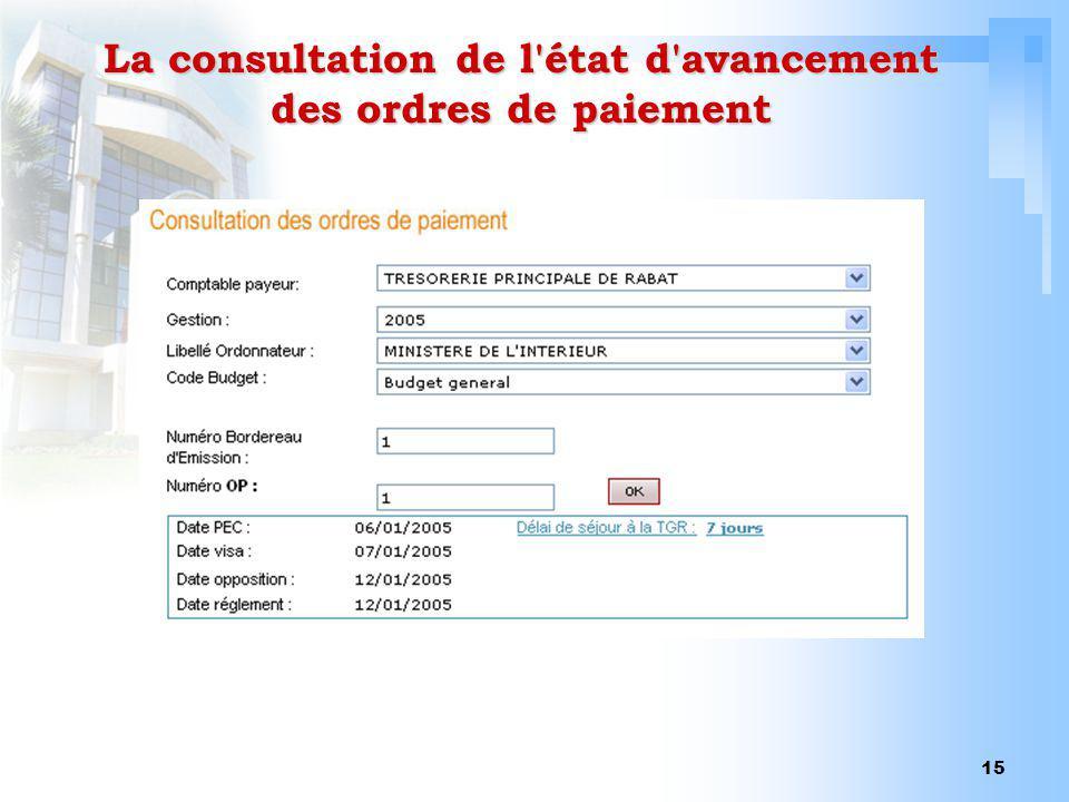 La consultation de l état d avancement