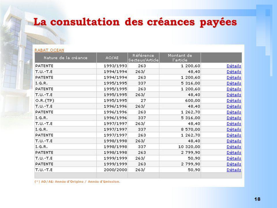 La consultation des créances payées