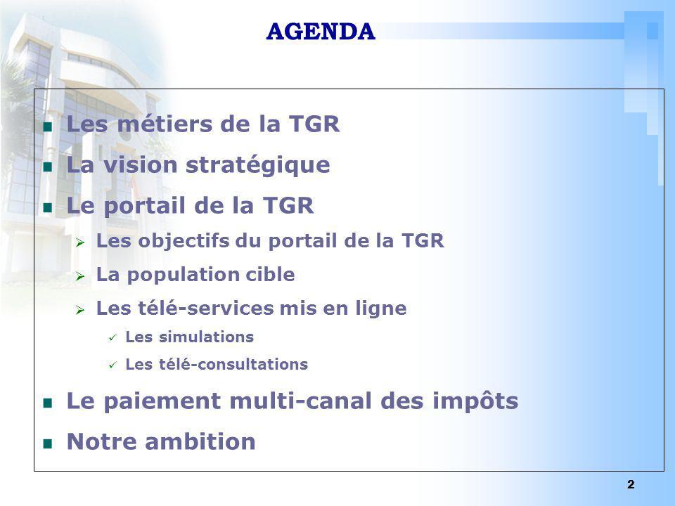 AGENDA Les métiers de la TGR La vision stratégique