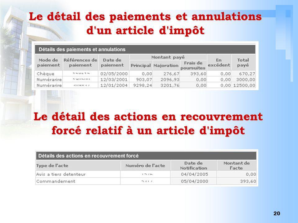 Le détail des paiements et annulations d un article d impôt