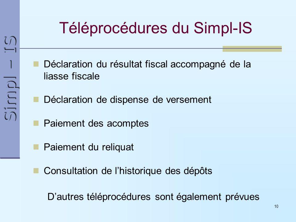 Téléprocédures du Simpl-IS