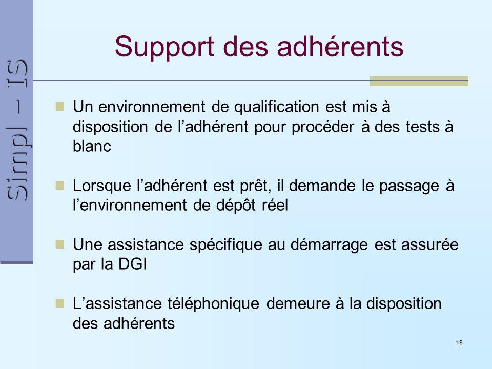 Support des adhérents Un environnement de qualification est mis à disposition de l'adhérent pour procéder à des tests à blanc.