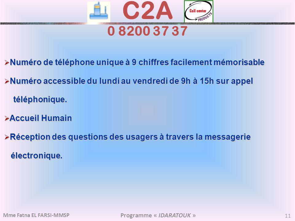 C2A 0 8200 37 37 Numéro de téléphone unique à 9 chiffres facilement mémorisable. Numéro accessible du lundi au vendredi de 9h à 15h sur appel.