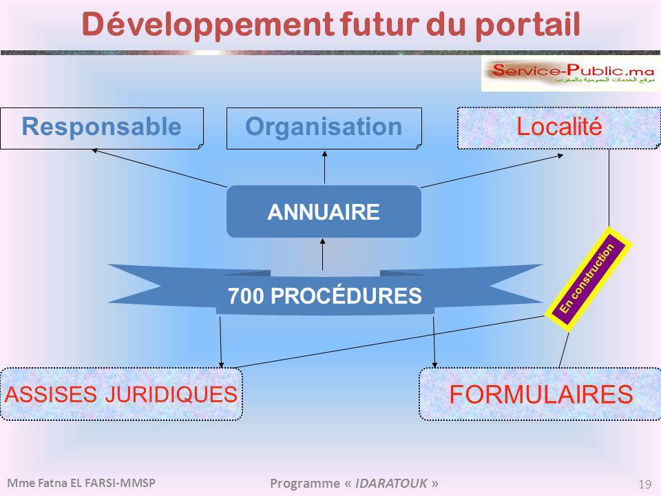 Développement futur du portail