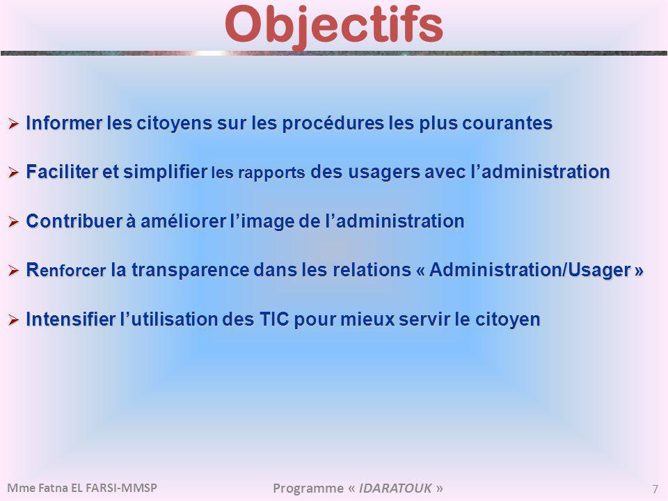 Objectifs Informer les citoyens sur les procédures les plus courantes