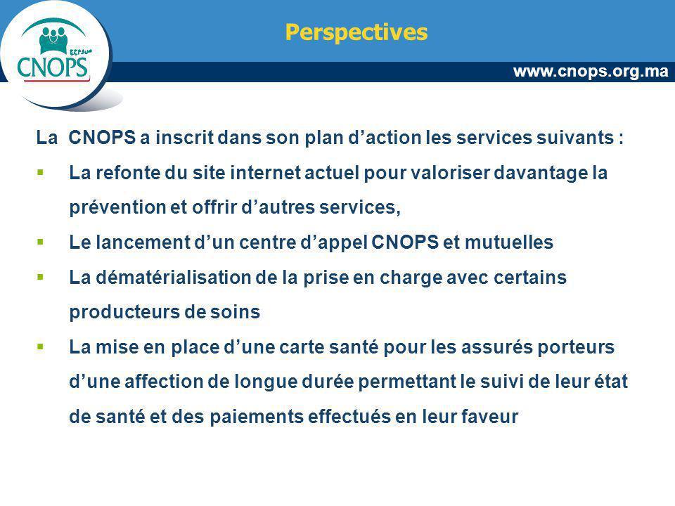 Perspectives La CNOPS a inscrit dans son plan d'action les services suivants :